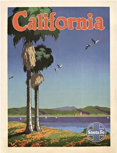 California Santa Fe original vintage railroad poster