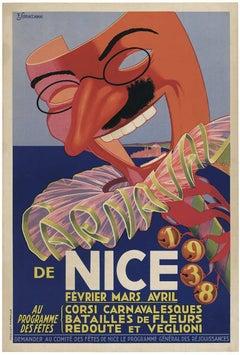 Carnival de Nice 1938 original vintage poster