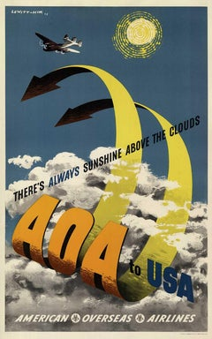 AOA to USA American Overseas Airlines original vintage poster