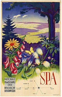 SPA Belgium Nationale Maaatschaapij der Belgische Spoorwegen vintage poster