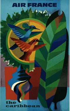 The Caribbean Air France original French vintage travel poster