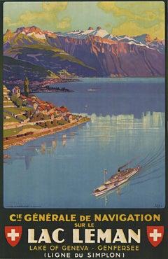 Navigation sur le Lac Léman original Swiss vintage lithograph poster