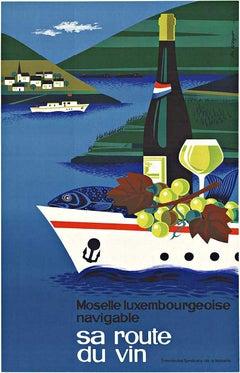 Sa Route du Vin, Moselle Luxembourgeoise Navigable original vintage wine poster