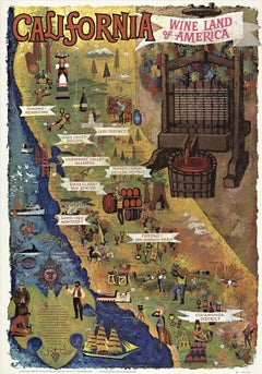 California Wine Land of American original vintage poster