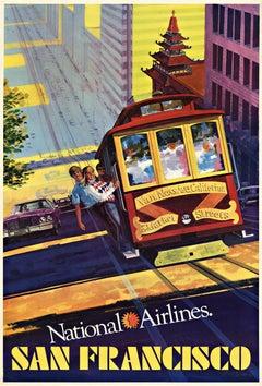 San Francisco National Airlines original vintage travel poster