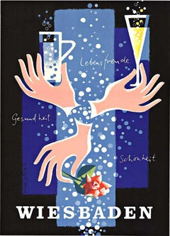Wiesbaden (German) original festive travel poster