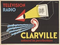 Original Clarville Television and Radio horizontal vintage poster