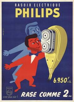 Philips Rasoir Electrique Original Vintage French advertising poster