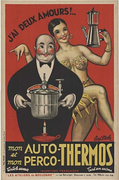 Auto - Thermos original French antique vintage poster