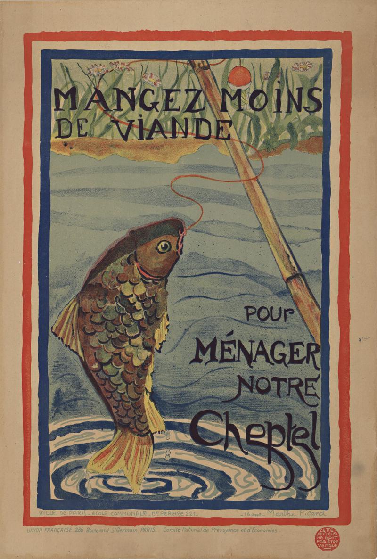 Original 1916 Mangez moins de viande pour ménager notre cheptel vintage poster