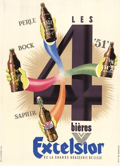Bieres Excelsior original vintage beer antique poster