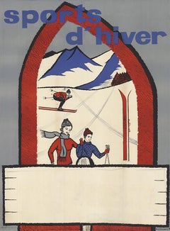 Sports d' Hiver original antique skiing vintage poster