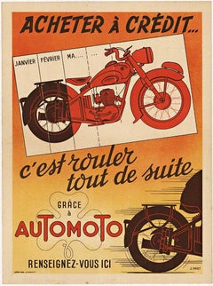 Grace a Automoto original vintage French motorcycle poster