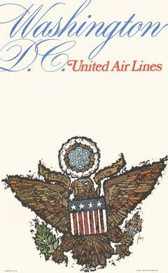 Washington D. C. United Airlines original vintage travel poster