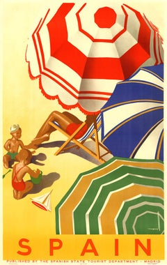 Original vintage travel poster to Spain, English version
