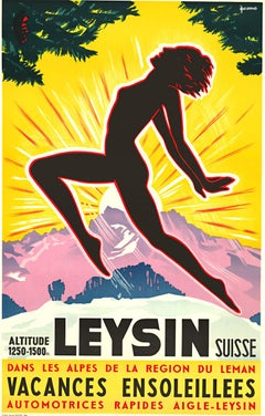 Original Swiss vintage travel poster:   Leysin, Switzerland