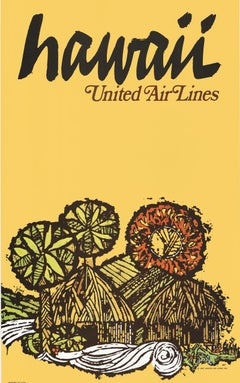 Hawaii United Air Lines original vintage airlines travel poster