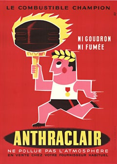 Anthraclair original vintage French lithograph poster