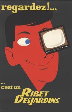 Ribert Desjardiin original French television vintage lithograph poster