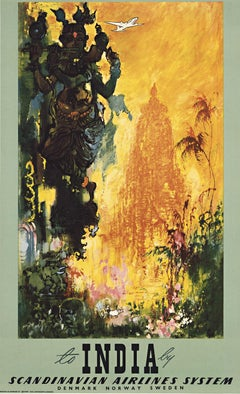 Scandinavian Airlines System fly to India original vintage travel poster