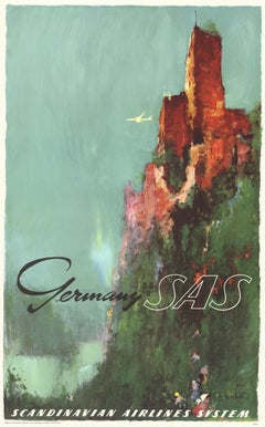 Germany by SAS, Scandinavian Airlines System original vintage travel poster