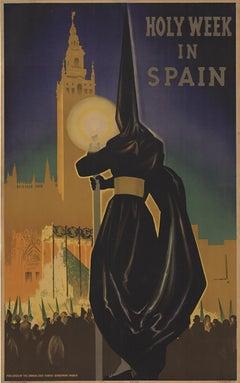 Original Holy Week in Spain original full lithograph vintage poster