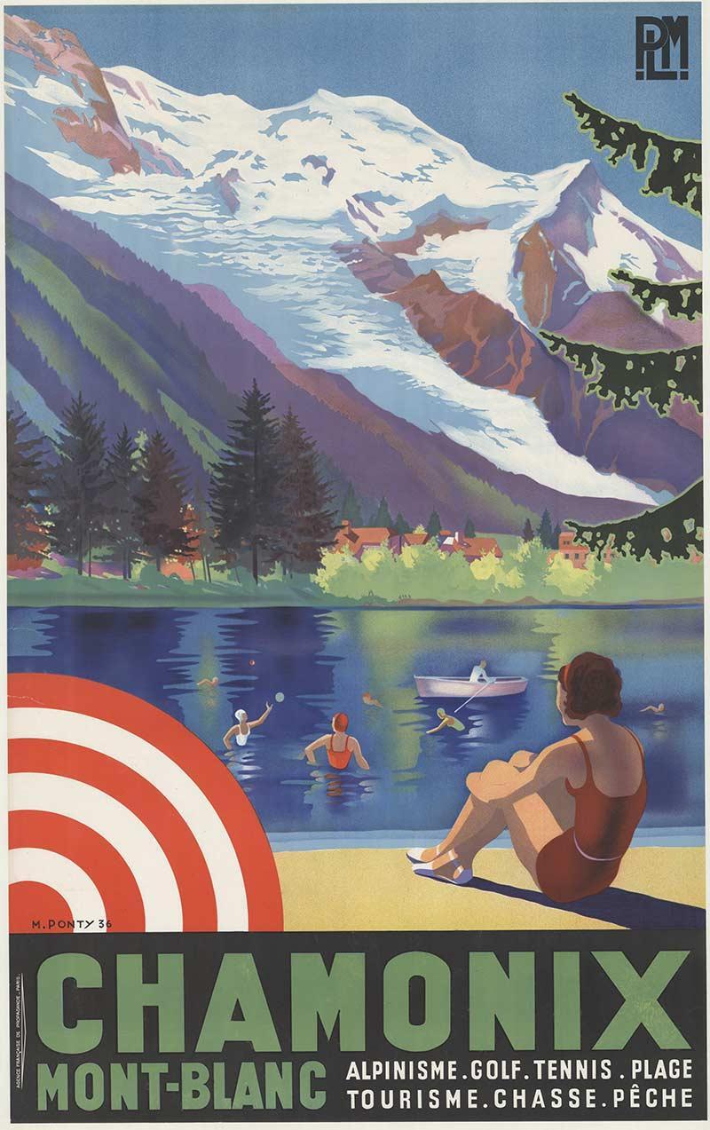 Original Chamonix Mont-Blanc vintage travel poster