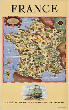 Original France Societe Nationale des Chemins de Fer Francais vintage poster map