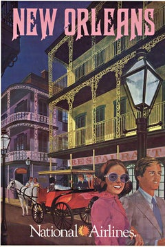 Original New Orleans National Airlines vintage American travel poster