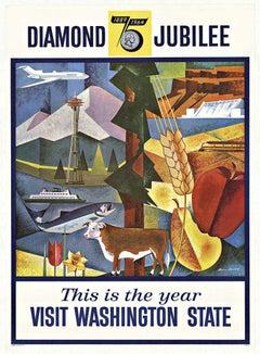 "Original Visit Washington State Diamond '75th"" Jubilee vintage postger"