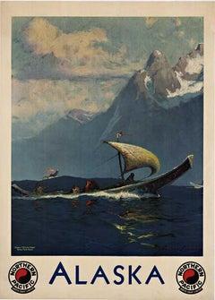 Alaska Northern Pacific North Coast Limited original vintage travel poster