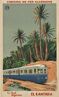 El Kanta Chemins de fer Algeriens original vintage lithograph poster