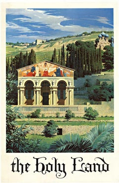 The Holy Land original vintage travel poster to Israel