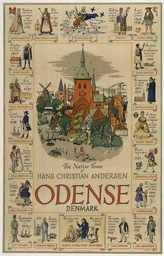 Odense Denmark original Danish vintage travel poster