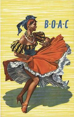 Original BOAC lithograph Caribbean vintage poster