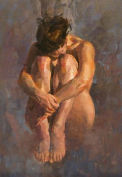 V. in Tucked Position, oil painting, Figurative style