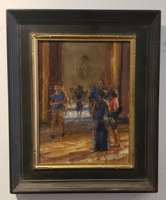 In the Louvre, oil painting, in the American Impressionistic Style.