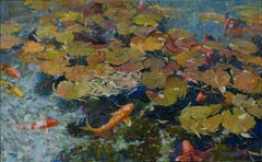 Petals on the Water,oil painting ,American Impressionism
