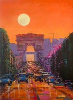 Streets of Paris. oil painting, Impressionism Style, Cuban artist