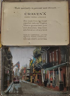 Craven  A Tobacco Tin,painted antique tobacco tins, New Orleans Street Scenes