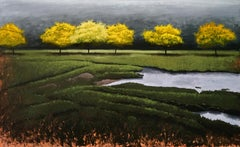 The Yellow Trees in the Valley, Tonalism, fiery landscape,Utah artist