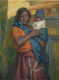 Mujer con Bebe,  Guatemalan Mother and Baby, vivid colors , Texas Artist,