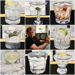 Cocktails  Series of 8 different paintings, soft pop art, Realism