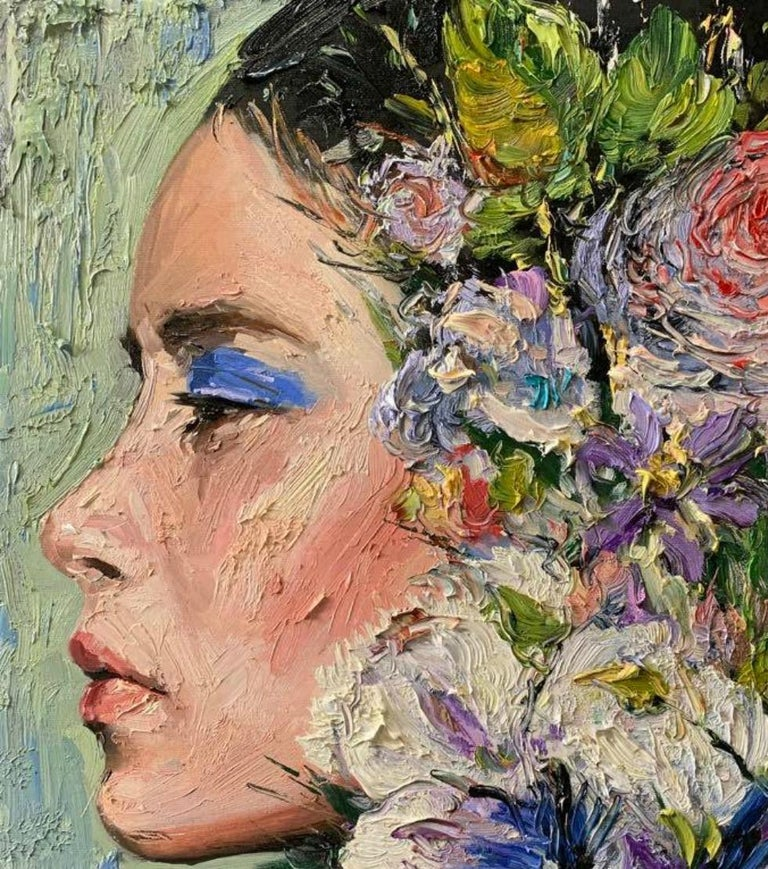 Elizabeth, Impressionism, Floral, Portrait, Cuban Artist in USA, oil painting - Painting by Eric Alfaro