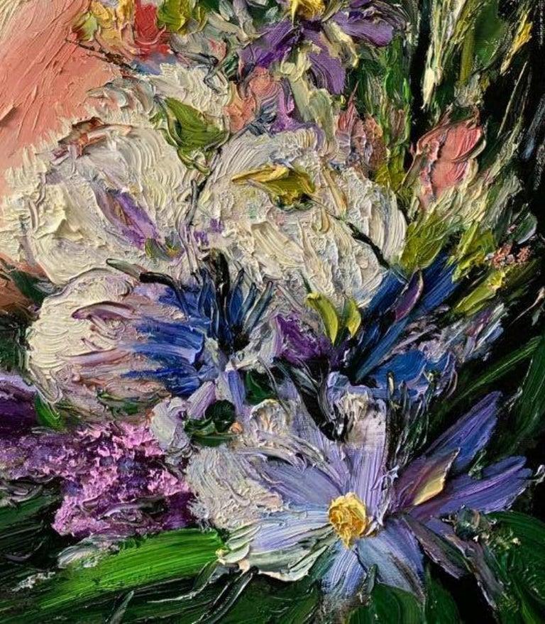Elizabeth, Impressionism, Floral, Portrait, Cuban Artist in USA, oil painting - Impressionist Painting by Eric Alfaro