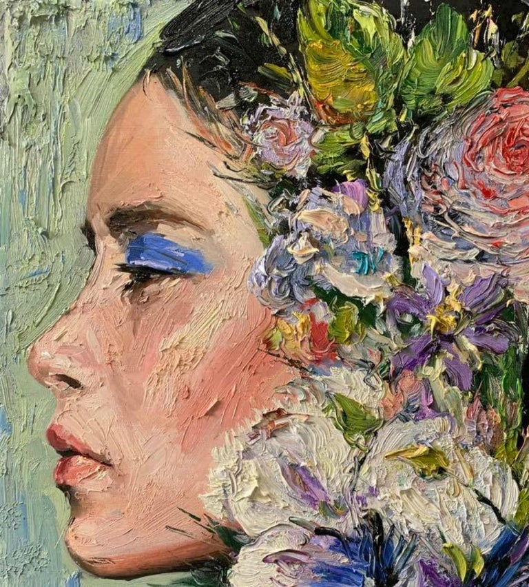 Elizabeth, Impressionism, Floral, Portrait, Cuban Artist in USA, oil painting - Brown Figurative Painting by Eric Alfaro