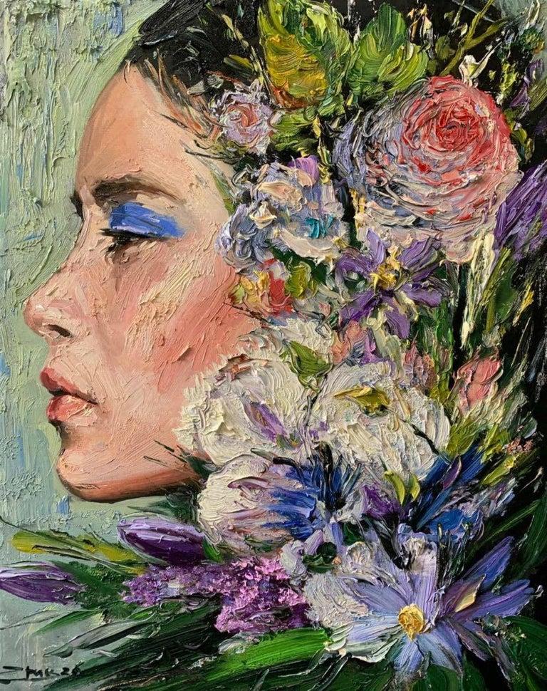 Eric Alfaro Figurative Painting - Elizabeth, Impressionism, Floral, Portrait, Cuban Artist in USA, oil painting