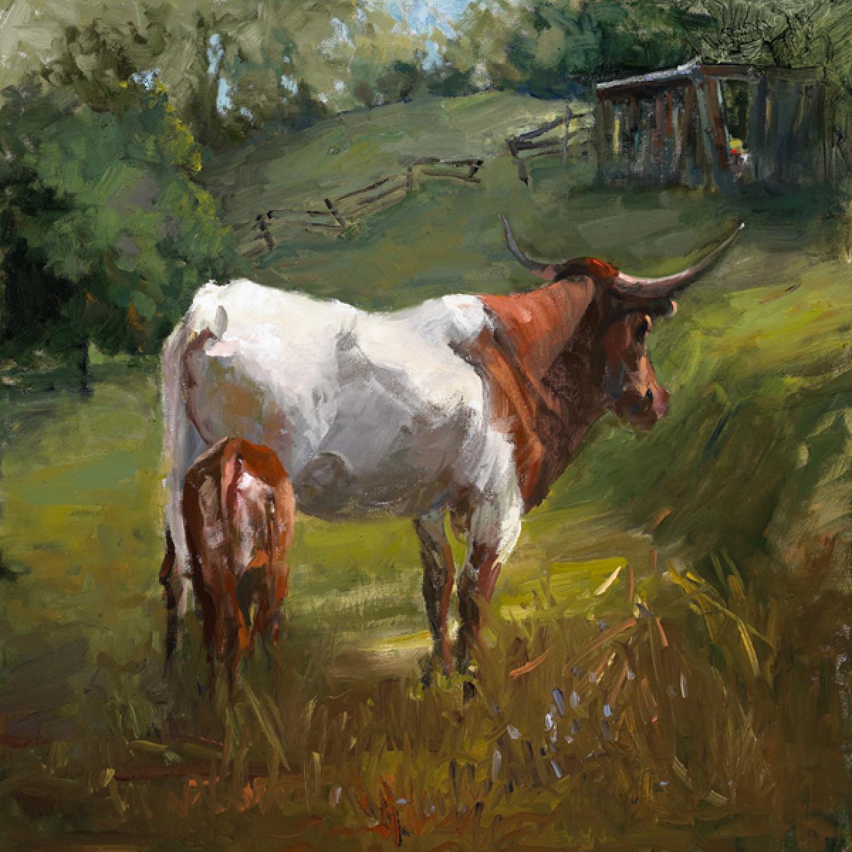 Texas Longhorn, oil painting, Award of Excellence, Southwest Art, Western Art