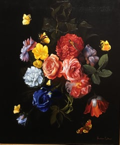 Italian Floral, Still-life, Italian artist, Florence, Realism, Oil Painting.