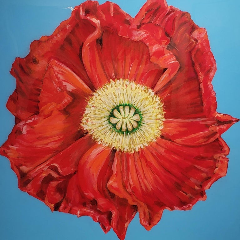 African Poppy, Realism, Acrylic w/Resin, Floral Painting, Gallery Wrap  - Red Still-Life Painting by June Arthyr